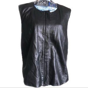 Venezia Vest Jeans Black Leather Zip Sleeveless